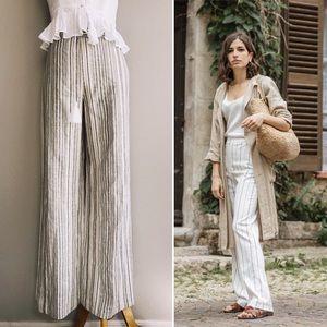 Neutral Toned Woven Linen Blend Wideleg Pants